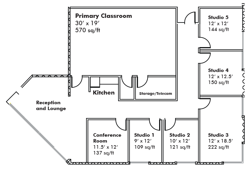 BDA Coworking Space Floorplan, Boulder, Colorado